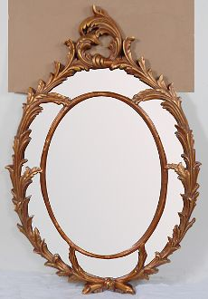 Oval Chippendale Mirror Gold leaf Mirror Border Scrolls
