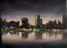 A calming night-time cityscape painting. For more information about instructional DVDs go to www.paintwithkevin.com