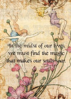 Vintage Fairy Illustration In the Midst of Our Lives Inspirational Digital Prints