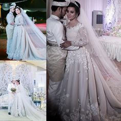 420 LOVE 2015 Arabic Wedding Dresses Modest A Line Scoop With Beading Sequins Lace Appliques Bodice