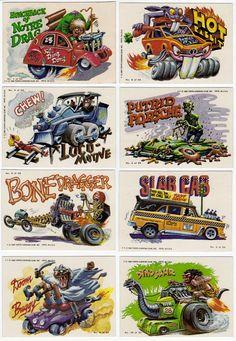 Weird Wheels trading cards from 1980 Cartoon Car Drawing, Cartoon Art, Cars Cartoon, Ed Roth Art, Cool Car Drawings, Monster Art, Monster Toys, Rat Fink, Garage Art