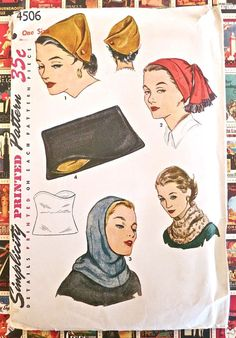 Simplicity 4506  Vintage 1950s Womens Hats Pattern by Fragolina