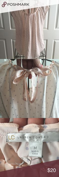 Lauren Conrad Blouse Top Cute Lauren Conrad Blouse! Light pink with purple polka dots around! See through and light weight! Open to Offers 🤑! No Trades 🚫! LC Lauren Conrad Tops Blouses