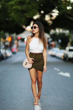Top: dulceida, blogger, draped skirt, khaki, white crop tops, halter crop top, strappy sandals - Wheretoget