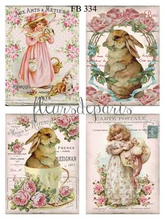 Chic Cards ~ Shabby Chic Vintage Easter Bunnies Girls 4 Prints on Fabric Quilting FB 334 ~ Cumpleaños Shabby Chic, Shabby Chic Kitchen, Shabby Chic Homes, Shabby Vintage, Decoupage Vintage, Vintage Easter, Vintage Valentines, Foto Transfer, Vintage Pictures