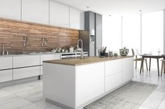 Modern kitchen with metal backsplash and white cabinets with long rectangular island Quartz Backsplash, Quartz Countertops, Kitchen Backsplash, Modern Kitchen Design, Kitchen Designs, Kitchen Island Materials, 3d Tiles, Penny Tile, Stick On Tiles