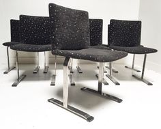 """Set of 8 chrome dining chairs by Saporiti - $1850 for set of 8 at Scout Design Studio. Rare find! 21"""" x 21"""" x 36"""" x 18"""" SH x 18"""" SD"""
