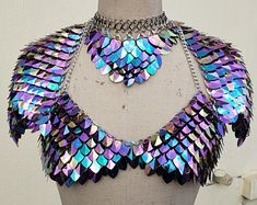 Scale Mail, Rave Gear, Kandi Bracelets, Edm Outfits, Burning Man Outfits, Pauldron, Music Festival Outfits, Metal Jewelry, Goth Jewelry