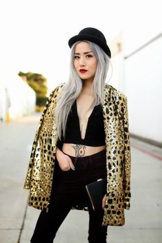 @Eugenie Grey from Feral Creature in the Nasty Gal Party Isn't Over Sequin Blazer (http://www.nastygal.com/product/nasty-gal-party-isnt-over-sequin-blazer) & Alex Bowler Hat (http://www.nastygal.com/accessories/alex-bowler-hat)