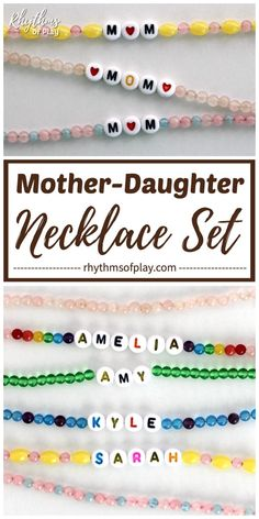 DIY Mother Daughter Necklaces or Bracelets - A Mom and daughter jewelry set is a gorgeous homemade gift that is easy for both kids and adults to make for Mother's Day, Christmas, or her birthday. Use gemstones or birthstones by month to personalize it! Mothers Day Crafts For Kids, Mothers Day Presents, Crafts For Kids To Make, Kid Crafts, Father's Day Activities, Craft Activities For Kids, Activity Days, Mother Daughter Bracelets, Mom Daughter