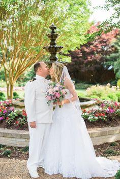 Beautiful Naval Academy Wedding. White, Navy, Spring, Wedding, Bride, Groom