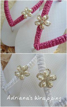 Beach Wedding Flip Flops decorated hot pink or white