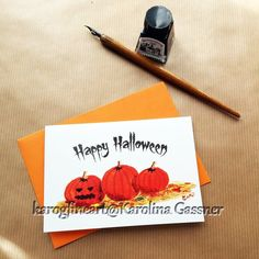 Happy Halloween Greeting Card, blank inside Halloween Greetings, Happy Halloween, Blank Cards, Halloween Pumpkins, All Design, Envelope, Original Paintings, Greeting Cards, Messages