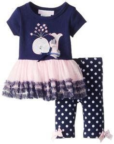 1d09cd3994ed40 Bonnie Baby Baby-Girls Newborn Whale Tutu Legging Set Cowl Neck Hoodie,  Hoodie Dress