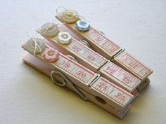 button decorated clothes pins, I love the tape measure looking paper