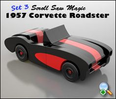 """Plan Set Description: 1957 Corvette Roadster is 9"""" L x 3-1/2"""" W x 3-1/4"""" H. Color 8-1/2"""" x 11"""" pages with black & white pattern pages. Required Tools & Supplies: Build using a scroll saw & hand drill. No complicated joints or cuts! Looks great using common wood or build with hardwoods."""