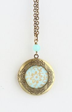 Locket Necklace, Brass Locket, Picture Locket, Mint and Gold, Flower Design Locket, Gift For Woman, Mothers Day Gift