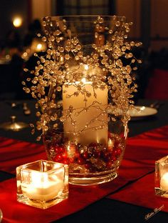 table, candle decor