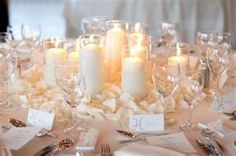 Ambiance~  Use Romantic Candles and Flower Petals for a Romantic, Winter Wedding Reception that is Budget Friendly~  (Photo Credit: decoratingtrends.com)  (410) 819-0046  www.maryannjudy.com
