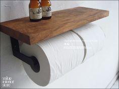 北欧 V_SチークトイレットペーパーホルダーNAB タオル掛け 無垢 鉄 Scandinavian teak furniture ¥4770円 〆03月28日