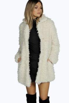 Anna Mongolian Faux Fur Coat at boohoo.com
