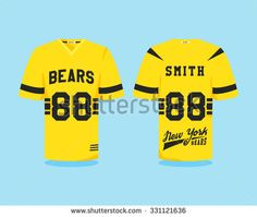 American football uniform, t-shirt design with team logo, label, badge. Can be use in infographics, presentations, as icon etc. Color Flat design. Vector illustration