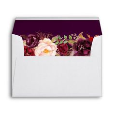 Shop Marsala Burgundy Floral Navy Blue & Return Address Envelope created by CardHunter. Personalize it with photos & text or purchase as is! Wedding Invitation Envelopes, Addressing Envelopes, Bridal Shower Invitations, Invites, Mailing Envelopes, Invitation Suite, Wedding Stationery, Plum Purple, Navy Blue