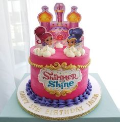 Chocolate cake with chocolate ganache filling Birthday Party At Park, Happy 5th Birthday, First Birthday Cakes, Birthday Ideas, Shimmer And Shine Decorations, Shimmer And Shine Cake, Chocolate Ganache Filling, Chocolate Cake, Minnie Mouse Birthday Cakes