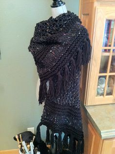 Black tweed prayer shawl---sooooo soft!