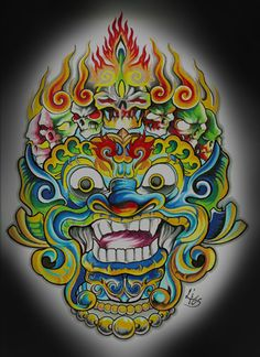 BandW Wall  - Traditional type of artwork from Bali - an important place in our relationships timeline Tattoo Sketches, Tattoo Drawings, Tattoo Art, Sock Tattoo, Asian Tattoos, Tribal Tattoos, Fu Dog, Thangka Painting, Indonesian Art
