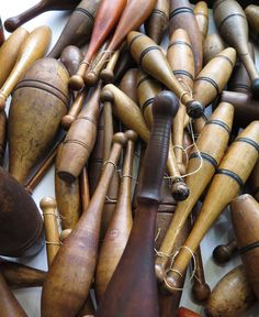 Amazing Collection of Indian Clubs, Weight Clubs, and Juggling Clubs | From a unique collection of antique and modern sports at https://www.1stdibs.com/furniture/more-furniture-collectibles/sports/