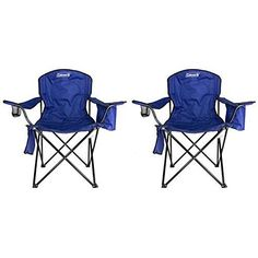 2 Pack Coleman Camping Lawn Chairs With Built In Cooler, Blue x 2000020266
