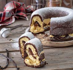donut-pan-brioche-bocolore-with-cream-to-nuts- ciambella-pan-brioche-bocolore-con-crema-di-nocciole donut-pan-brioche-bocolore-with-cream-to-nuts - Sweet Desserts, Dessert Recipes, Vegan Doughnuts, Christmas Donuts, Biscuits, Sicilian Recipes, Sicilian Food, Doughnut Cake, Plum Cake