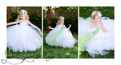 Green Silver Flower Girl Dress by YourSparkleBox