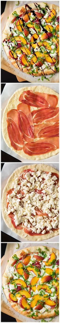 Three Cheese Peach and Prosciutto Pizza with Basil and Honey Balsamic Reduction…