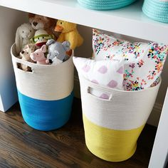 The Blue and Yellow Cotton Rope Hampers also make great toy storage bins!