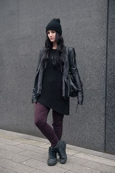 ASOS Beanie / Rick Owens Leather Jacket / H&M Asymmetric Jumper / Bvrnt Wood Necklace * / New Look Burgundy Jeans / Supra Skytop TUF Sneakers / Balenciaga City Bag Punk Outfits, Fashion Outfits, Womens Fashion, Style Fashion, Dark Fashion, Autumn Fashion, Leather Jacket Outfits, Leather Jackets, Leather Trousers