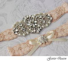 Bridal Garter Wedding Garter Set Stretch Lace Keepsake and Toss Garters, Rhinestone and Crystal garters, Cream Vintage Nude on Etsy, $59.99
