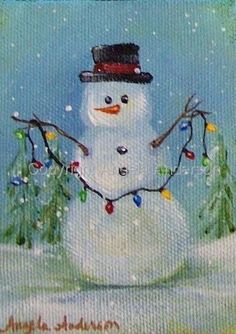 "Painting : ""Snowman"" (Original art by Angela Anderson) Christmas Canvas, Christmas Paintings, Christmas Art, Christmas Projects, Snowmen Paintings, Snowman Crafts, Holiday Crafts, Snowman Pics, Wine And Canvas"