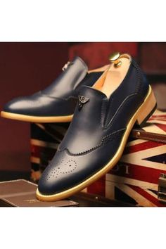 Brogue Dress Loafers Shoes In Navy Mens Dress Loafers, Loafers For Women, Wingtip Shoes, Loafer Shoes, Mens Dress Outfits, Men Dress, Comfortable Mens Dress Shoes, Black Brogues, Mens Fashion Shoes