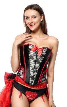 LUXE BURLESQUE KOSTUUM MET KORSET & GELAAGDE ROK MET GROTE STRIK, 36 of 38 of 40, SETPRIJS €47,95 (korset + rok + jarretelslip)  >> burlesque costume with corset & layered petticoat skirt & garter panty