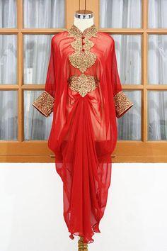 Red Moroccan Chifon Kaftan Dubai Gold Embroidery Abaya Maxi Dress Jalabiya Style | eBay