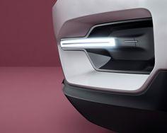 Volvo concept car // white geometric sharp front light minimalist transport part line design detail  // bianco geometrico minimilista netto luce anteriore scuretto linea divisione auto mezzo trasporto dettaglio