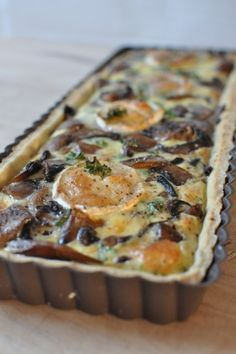 Mushroom and goat cheese tart - - Healthy Cooking, Cooking Recipes, Food Porn, Shortcrust Pastry, Food Crush, Perfect Food, Vegetable Dishes, Italian Recipes, Love Food