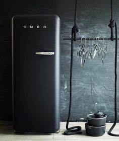 """Smeg Australia on Instagram: """"Luxe black velvet FAB by Smeg fridge from the archives of @lucytweedstylist and @donnahaymagazine @smartanson #designicon #madeinitaly…"""""""