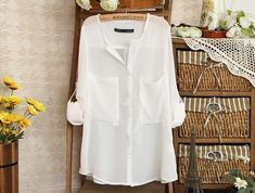 V-Neck Loose White Blouse-- totally just got this, SO cute! will go with everything
