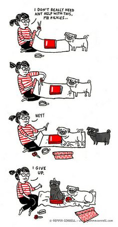 8-9 years ago I used to read newspaper on floor and Peawee would come sit on it just like in this cartoon. By gemma correll