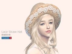 Paluean R Sims: Lace Straw Hat • Sims 4 Downloads