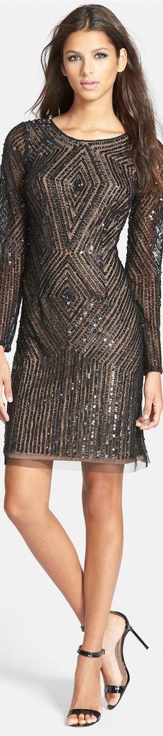 LOOKandLOVEwithLOLO: Adrianna Papell Beaded Mesh Sheath Dress