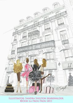 """Paris Dreams"" by illustrator SANDY M http://oohlafroufrou.blogspot.com Prints Available #Fashion #Illustration #Art"